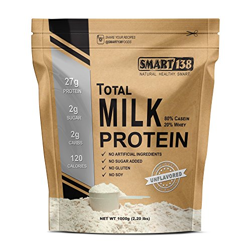 Total Milk Protein // 80%Casein 20%Whey // Gluten-Free, Soy-Free, Non-GMO, USA, Keto Low Carb, Natural BCAAs (1000g / 2.2lbs, Unflavored)