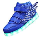 KARKEIN LED Light Up Hi-Top Wings Shoes USB Rechargeable Flashing Sneakers for Toddlers Kids Boys Girls Royal 13 Little Kid