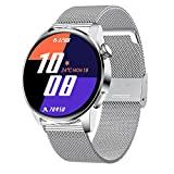 rongxin Smart Watch Hombres Impermeable Deporte Fitness Tracker Tiempo Pantalla Bluetooth Llamada SmartWatch For Android iOS (Color : Mesh Silver)