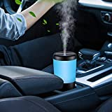 Car Diffuser for Car, Usb Plug In Car Humidifier Essential Oil Diffuser, Mini Portable Aromatherapy Cup Holder 7 Colors LED Lights Car Humidifier Diffuser for Vehicle Office Travel Home - Black
