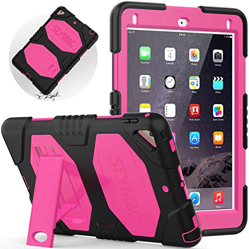 iPad 6th generation case, iPad Air 2 Case with Stand, SEYMAC Heavy Duty Full Protection Rugged Case for iPad 9.7 inch 2018/2017 & iPad Pro 9.7 inch(Pink/Black)