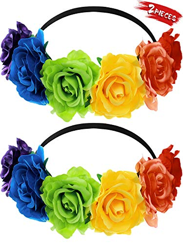 Syhood 2 Pieces Headband MexicanHair Wreath Day of The Dead Headband Flower Crown Costume Flowers Hair Band Rose Headpiece for Women Girls
