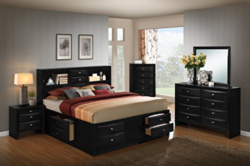 Roundhill Furniture Blemerey 110 Wood Storage Bed Group, King Bed, Dresser, Mirror, 2 Night Stands, Chest, Black