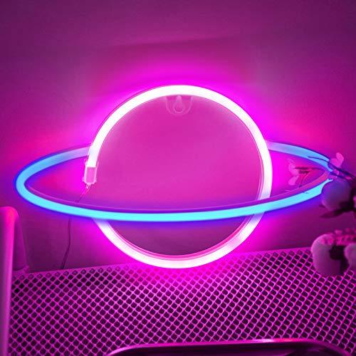 LED Leuchtreklame, trounistro Planet Neonlicht Wanddekoration für Schlafzimmer Bar Festliche Party Weihnachtshochzeit, dekorative Leuchtschilder Geschenk für Kinder Freunde Familien