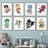 DASHBIG Lienzo de Pintura de Dibujos Animados de superhéroes Carteles e Impresiones Cuadro de Arte de Pared para decoración de habitación de niños de guardería | 30x42cmx8 sin Marco