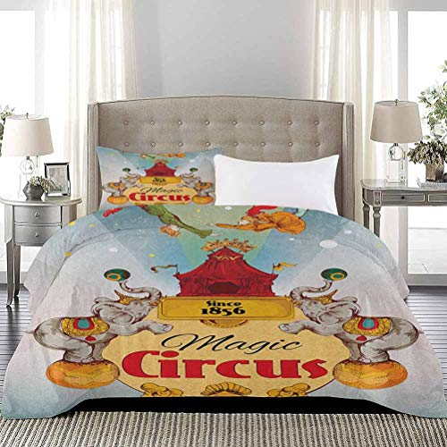 Three-Piece Bed Duvet Cover Magic Circus Tent Show Announcement Vintage Style Aerialist Acrobat Performance All-Purpose Bedding Sets Wrinkle/Fade Resistant Breathable Multicolor, Full Size