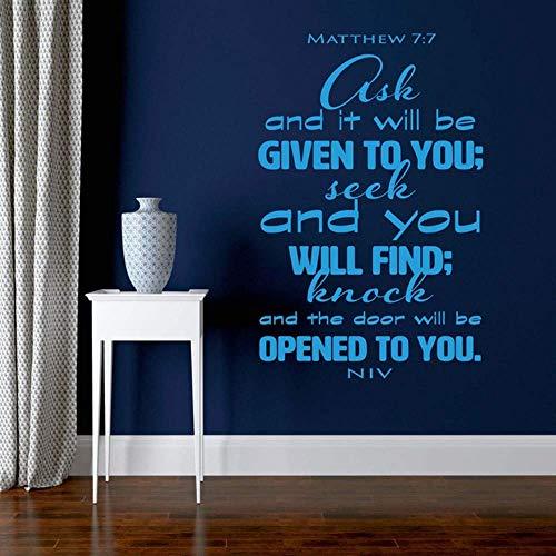 Citazione religiosa Versetto della Bibbia Matteo 7: 7 Chiedi e ti sarà dato Vinile Adesivo Adesivo Decorazioni per la casa Arte Carta da parati murale 57X87 cm