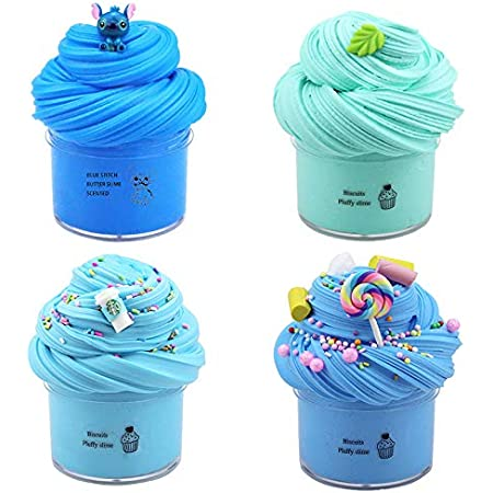 mit Blue Candy Slime 4er Pack Butter Slime Kit Blau und Kaffee Latte Slime Superweicher und nicht klebriger Clay Cloud Slime DIY Sludge Toy Geburtstagsgeschenke f/ür M/ädchen Jungen White Cake Slime