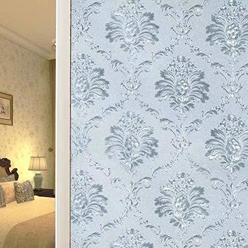 Shackcom Fensterfolie Sichtschutz Selbsthaftend Blickdicht Milchglasfolie Sichtschutzfolie 90x400cm Statisch Haftend Anti-UV Dekorfolie mit Damaskus Blumen Muster für Küche Wohnzimme Badezimmer-J023