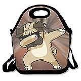 Sanftes Pugs Mops Hund DAB Dance Tragbarer Lebensmittel Taschen Lunchpaket Praktische Lunch Paket Tote