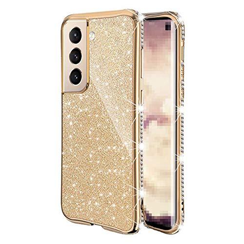 Galaxy S21 5G TPU ケース/カバー 透明カバー 可愛い お洒落 ラメ ラインストーン きらきら ギャラクシー ソフトケース おしゃれ アンドロイドスマホ スマートフォンケース/カバー[Galaxy S21 5G(ゴールド)]