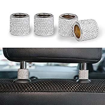 JUSTTOP Car Seat Headrest Decoration 4 Pack Car Headrest Collars Rhinestone Interior Car Seat Accessories Bling Bling Crystal Diamond Car Interior Decoration Ring  White