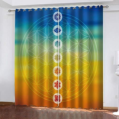 Fvvsovs Cortina de ventana con patrón de yoga fresco, tela de poliéster para dormitorio, cocina, sala de estar, decoración del hogar, 2 paneles de 170 x 200 cm