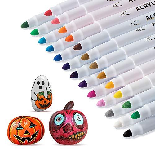 25 penne acriliche per pittura a rocce, ceramica, vetro, legno, tessuto, tela, tazze, ciottoli, uova di Pasqua, fai da te, per lavori fai da te, 25 colori vivaci (1 mm)
