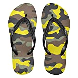 Linomo Sandalias de playa de verano para mujer con diseño de camuflaje amarillo y camuflaje, color, talla 34.5/37 EU