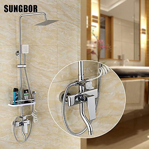 Sale!! KAKDA-STORE Shower Faucets, Shower Heads, Chrome Brass Wall Mounted Bathtub Shower Set Faucet...