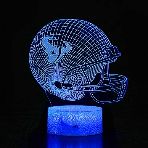 BigFootStudio 3D LED Night Light Football Helmet Houston Texans Flat Acrylic Illusion Lighting Lamp with 7 Colors and Touch Sensor, Sports Fan Nightlight Gift for Kids, Boys, Girls, Men or Women…