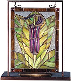 Meyda Tiffany 68552 Jack-in-The-Pulpit Lighted Decorative Mini Tabletop Window, 9.5