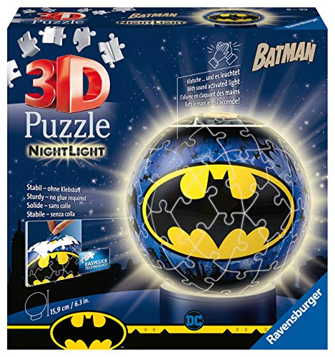 Ravensburger 3D Puzzle 11080 - Nachtlicht Puzzle-Ball Batman - 72 Teile - ab 6 Jahren, LED Nachttischlampe mit Klatsch-Mechanismus