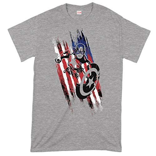 Compatible with Marvel Avengers Captain America Streaks Oficial Camiseta para Hombre (XX-Large)