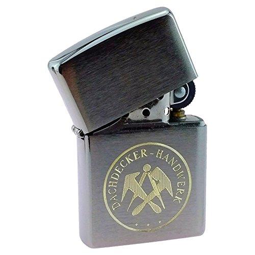 Sturmfeuerzeug für Dachdecker mit Gravur Handwerk und Zunftmotiv Benzinfeuerzeug - ohne Zubehör
