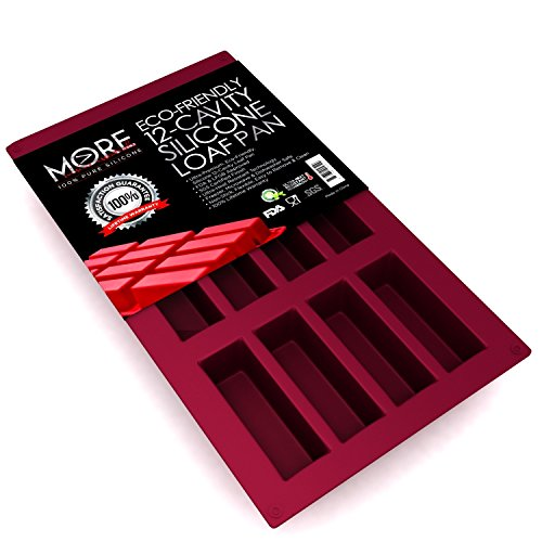 Ultra-Premium, Eco-Friendly 12-Oblong Cavity Narrow Rectangle Silicone Bars, Baking Mold/Baking Pan for Soap, Cake, Bread, Cupcake, Cheesecake, Cornbread, Muffin & Brownies 29.5x17.5x1.3 by MORE