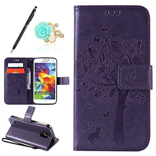 Uposao Kompatibel mit Samsung Galaxy S5 Leder Tasche Schutzhülle Vintage Schmetterling Baum Katze Muster Brieftasche Handyhülle Ledertasche Lederhülle Bookstyle Handy Tasche,Dunkellila