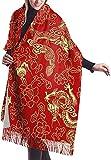 JJsister Donna Pashmina Wrap Scialli Sciarpe Scarf Red Chinese Gold Dragon Cozy Soft Fashion Winter Warm Large Scarf Long Shawl