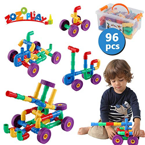 ZoZoplay STEM Learning Toy Tubular Pipes amp Spouts amp Joints 96 Piece Build Bicycle Tank Scootie Moter Skills Endless Designs Educational Building Blocks Set for Kid Ages 3 Multicolor