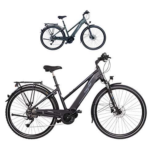 FISCHER Damen - Trekking E-Bike VIATOR 4.0i, Elektrofahrrad, schwarz matt, 28 Zoll, RH 44 cm, Mittelmotor 50 Nm, 48 V Akku im Rahmen