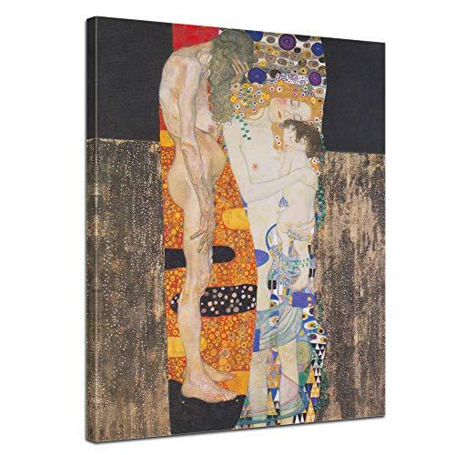 Wandbild Gustav Klimt Die DREI Lebensalter der Frau - 50x70cm hochkant - Wandbild Alte Meister Kunstdruck Bild auf Leinwand Berühmte Gemälde