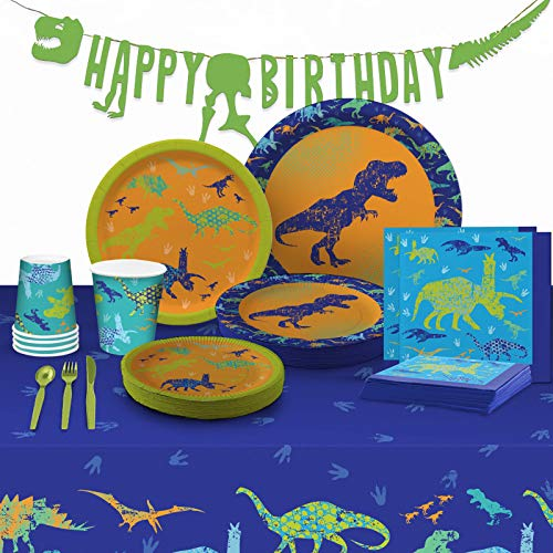 My Greca Dinosaur Party Supplies - (Serves 16) - Dinosaur Decorations Set for Birthday Party - Plates, Cups, Napkins, Happy Birthday Banner, Table Cover, Utensils set - TREX Bday Theme Pack