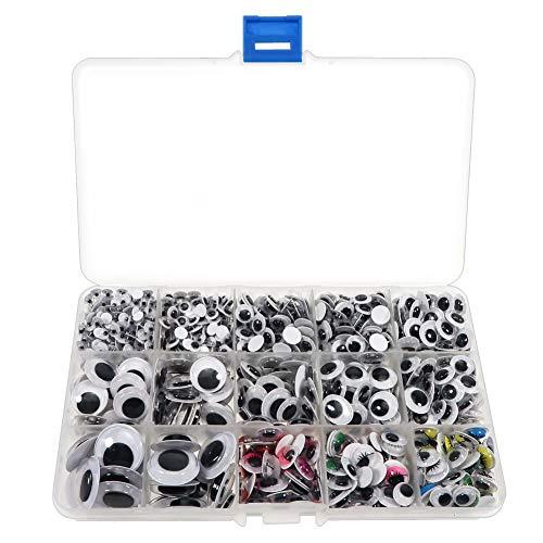 TOAOB 1012 Stück Selbstklebende Wackelaugen 5 bis 20mm Rund und Oval mit Farbe Wimpern Kunststoff Augen für Scrapbooking Kunsthandwerk