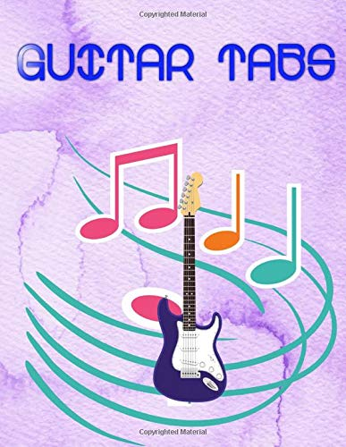 """Guitar Tab Book: Guitar Tabs Disney 120 Page Glossy Cover Design Cream Paper Sheet Size 8.5 X 11"""" ~ Music - Notes # Guitar Quality Prints."""