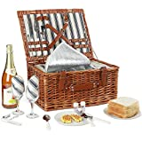 Willow Picnic Basket Set for 2 Persons with Large Insulated Cooler Bag and Classical Cutlery Service Kit | Wicker Picnic Hamper for Camping,Outdoor,Valentine Day,Chirtmas,Thanks Giving,Birthday