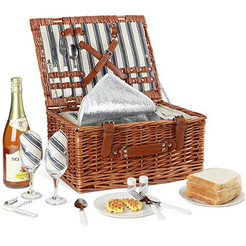 Juego de cesta de picnic Willow para 2 personas con bolsa grande aislada y juego de cubiertos clásico, cesta de picnic de mimbre para acampar, al aire libre, día de San Valentín, Navidad y cumpleaños