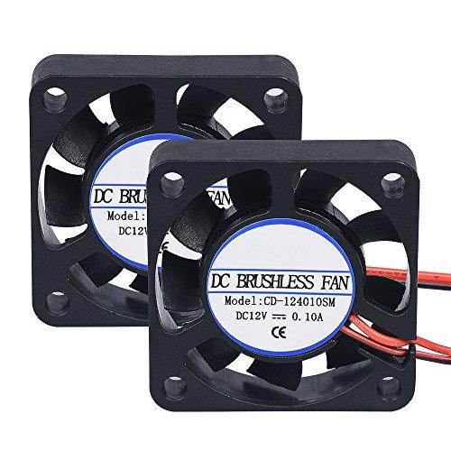 PoPprinter 40x 40x 10mm, DC 12V, 2Pin-Kühlgebläse, kollektorloser Mini-Ventilator für 3D-Drucker (2 Stück), 40*40*10mm, 2