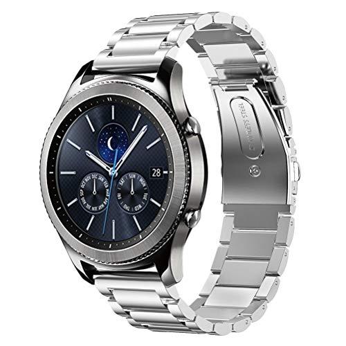 DD Correa Compatible con Galaxy Watch 46mm / Galaxy Watch 3 45mm / Samsung Gear S3 Frontier/Classic Smartwatch/Huawei Watch GT, 22mm Acero Inoxidable Repuesto Reloj Banda Pulseras (Plata)