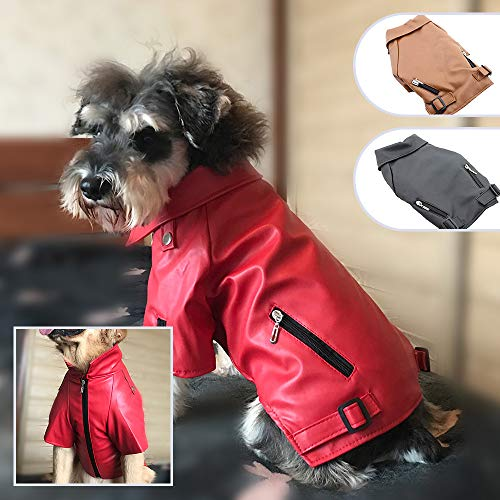 Lovelonglong Coole Hunde Lederjacke, Warme Mäntel Hunde Winddicht Kaltes Wetter Mäntel für Große Mittlere Kleine Hunde, Boston Terrier Kleidung Rot XXL