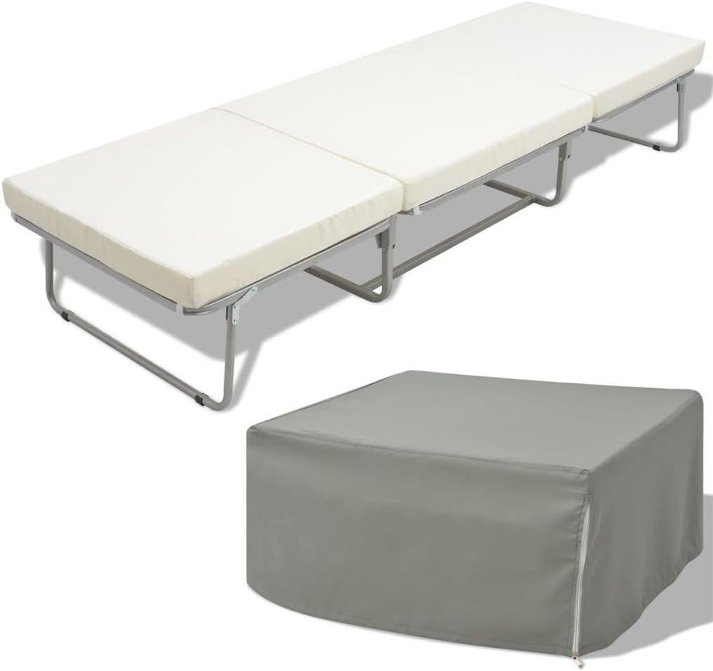Cama/Taburete Modelo Plegable con Colchón Incluido vidaXL