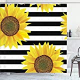 My-baby Sonnenblumen-Duschvorhang, gelber Sonnenblumen-Druck, Badezimmer-Dekor-Set mit 12 Haken, Polyestergewebe, maschinenwaschbar, wasserdicht, 178 x 178 cm, schwarz, gelb Sonnenblume 02