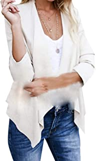 Womens Long Sleeve Open Front Elbow Patch Irregular Draped Button Knit Cardigan