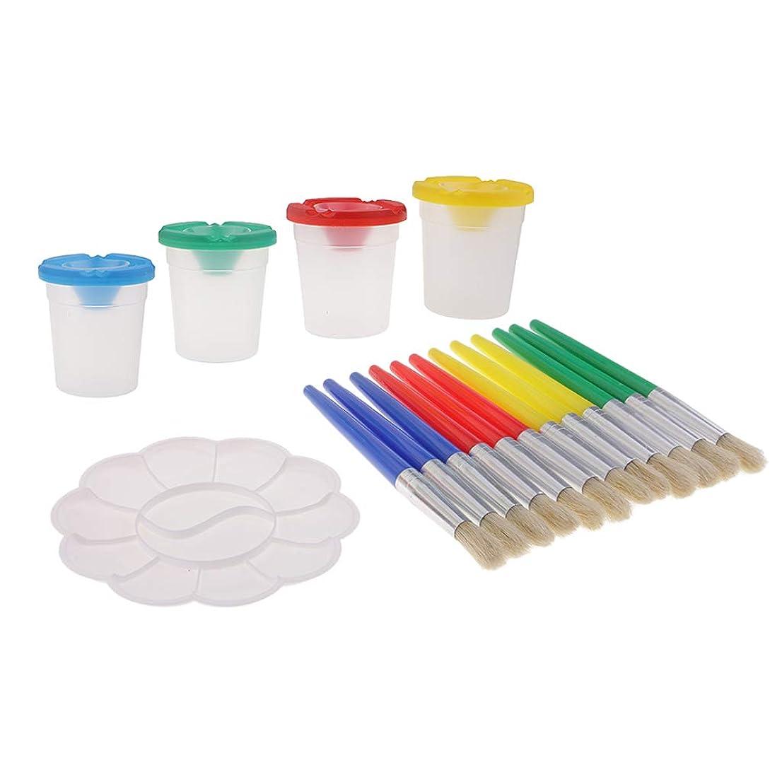 承認リークエッセンスこぼれ防止塗料カップ ペイントブラシ パレット 幼児保育園用 庭用 芸術用 コース用 約17個入り