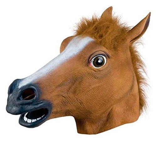 Kentop Pferdemaske Latex Pferde Maske Tiermaske Erwachsene Pferdekopf Maske Halloween Kostüm für Halloween Weihnachten Party Dekoration