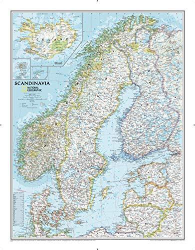 National Geographic: Skandinavien, klassische Wandkarte, 59,7 x 76,2 cm, Kunstdruck