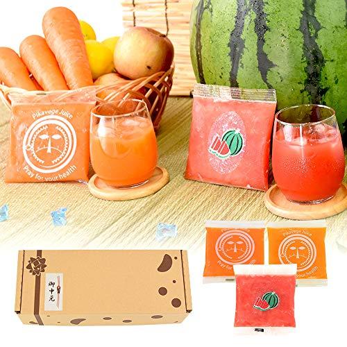 お中元 無添加冷凍ジュースセット 100ml×18パック (スイカ×6P、人参+りんご+レモン×6P、人参+りんご+ゆず×6P)