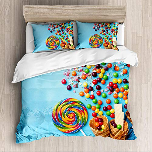 Svvsovs 3 Pieces Ultra Soft Duvet Cover Set with Zipper Closure Microfiber Quality Premium Duvet Cover Light Weight Easy Care Bedding Duvet Cover Super King size 260 x 230 cm Colorful candy lollipop