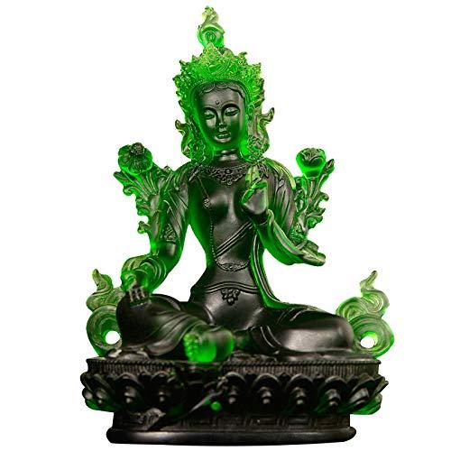 ZCXBHD Adornos De Cristal Verdes De La Estatua De Buda Regalos De Inauguración De La Casa Estatua De Cristal Verde De Tara,15 * 10 * 23CM