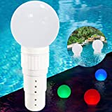 Pool Chlorine Dispenser Floater, Spa Chemical Dispenser with Colorful Solar Ball Lights,Floating Pool Chlorinator Easy Opening,3inch Tablets Chlorine Bromine Holder for Hot Tub,Anti-Sinking