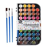 48 Colors Watercolor Paint Set, Shuttle Art Watercolor Pan Set with 3 Paint Brushes Easy to Blend Colors, Non-Toxic Perfect for Kids Adults Beginners Artist Watercolor Painting